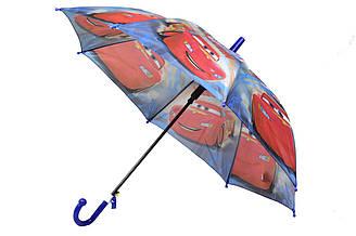 Детский зонт трость полуавтомат на 8 спиц со свистком с рисунком Тачки