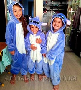 Дитяча піжама кигуруми Стіч блакитний на зростання 100,110,120,130 см