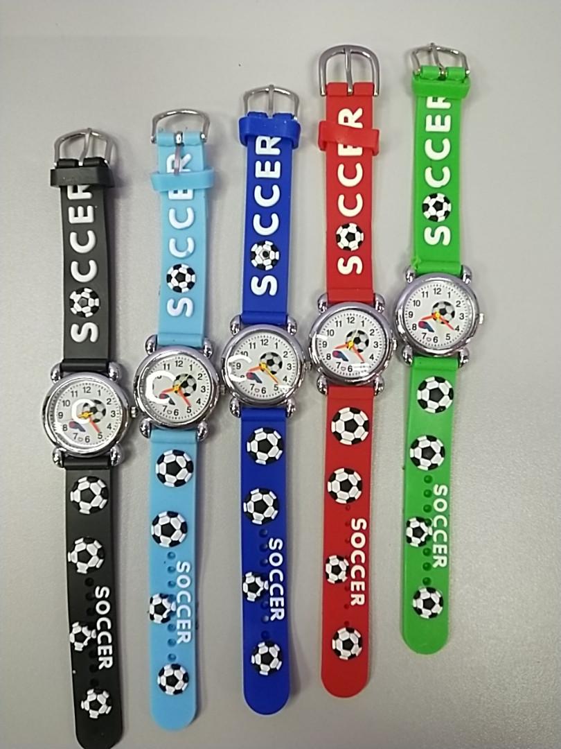 Наручные детские часы для мальчиков силиконовый ремешок рисунок мячик