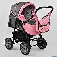 Детская коляска для новорожденных универсальная трансформер 2 в 1 Viki 86 C 09 цвет серо-розовый