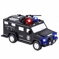 Машинка 3в1 скарбничка + сейф + іграшка поліцейська чорна