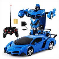 Машинка Трансформер Lamborghini Car Robot Size 1:18 З ПУЛЬТОМ Синя