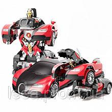 Машинка Трансформер Bugatti Veyron Robot Car Size 1:18 С ПУЛЬТОМ Маленькая Красная