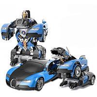 Машинка Трансформер Bugatti Veyron Car Robot Size З ПУЛЬТОМ СИНЯ