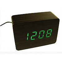 Настольные деревянные часы ET 009 с зеленой подсветкой