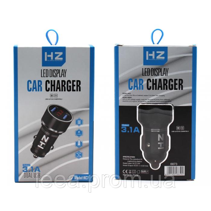 Автомобільний зарядний пристрій (АЗП) HZ HC7 на 2 USB Чорний