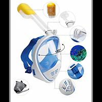 Полнолицевая маска для плавания снорклинга FREE BREATH  M2068G с креплением для камеры
