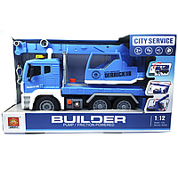 """Машинка кран спецтехника с воздушной помпой """"Builder"""" Синий(свет, звук)"""