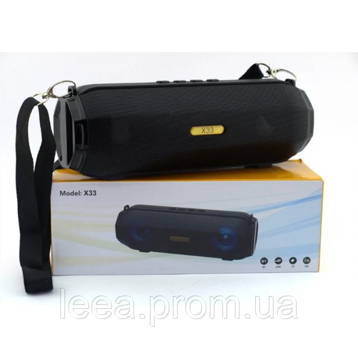 Bluetooth стерео колонки JBL X33 зі світломузикою USB/BT/FM/AUX/TF чорна