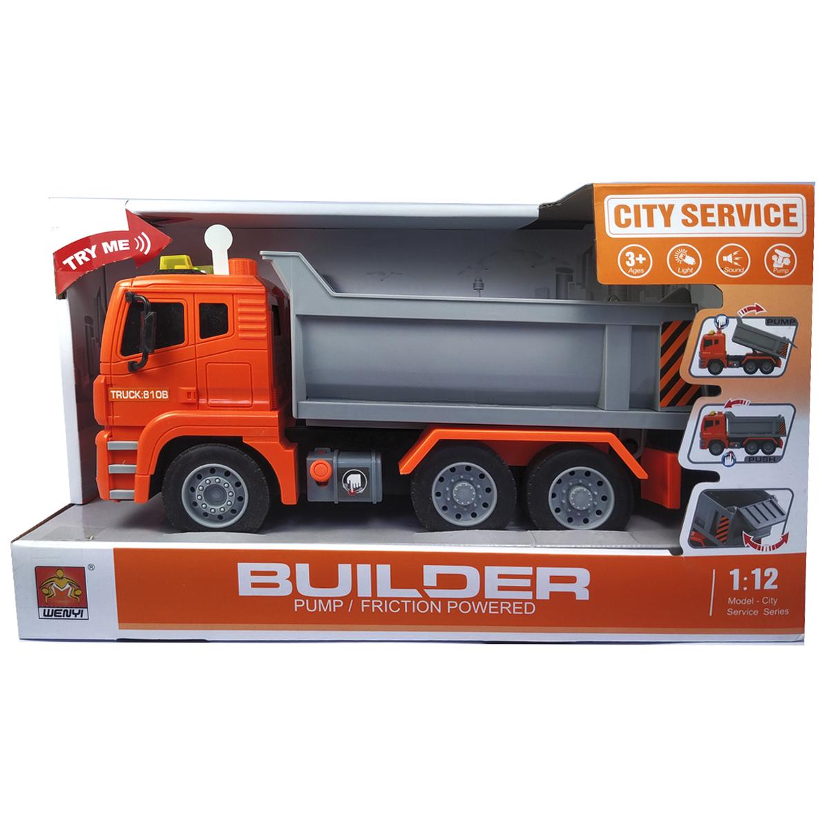 """Машинка вантажівка спецтехніка з повітряною помпою """"City service"""" (світло, звук)"""