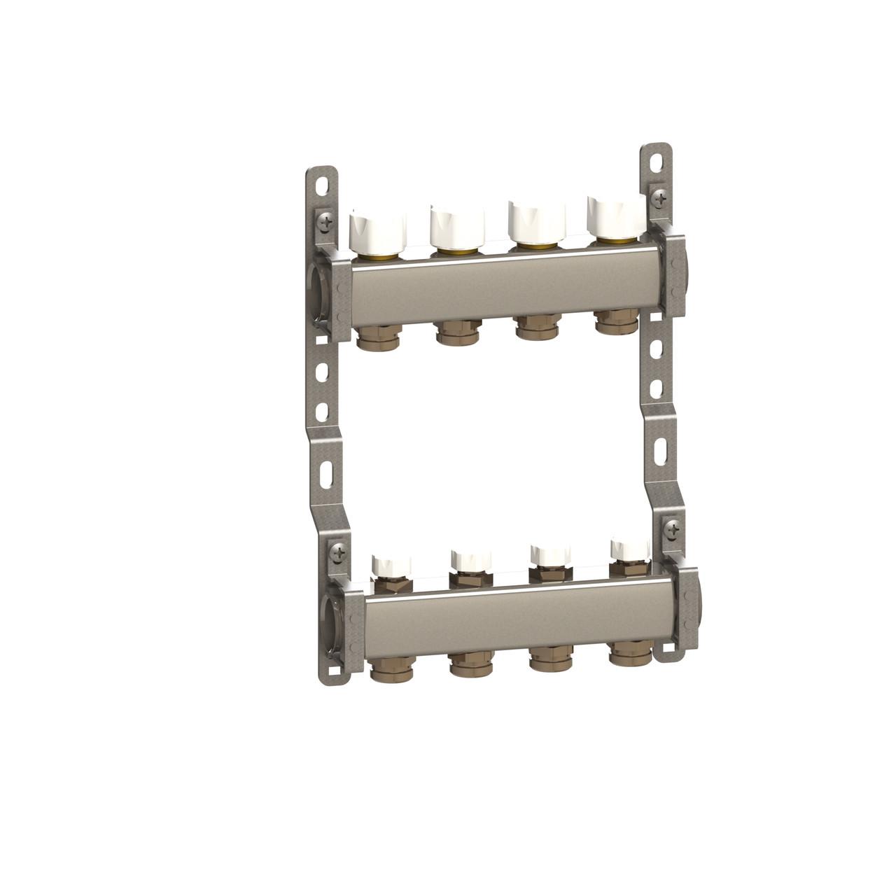 Колектор в зборі нерж. сталь для підключ. 4 контуру, з відсік. і термоклап.
