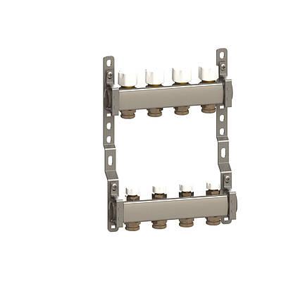 Коллектор в сборе нерж. сталь для подключ. 4 контура, с отсек. и термоклап., фото 2