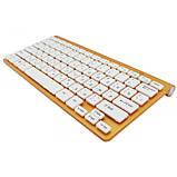 Беспроводная русская клавиатура mini и мышь keyboard 908 + приёмник Золотая, фото 4