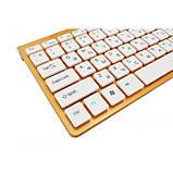 Беспроводная русская клавиатура mini и мышь keyboard 908 + приёмник Золотая, фото 6