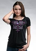 Оригинальная женская вышитая футболка на лето в черном цвете «Элегия (фиолетовая вышивка)»