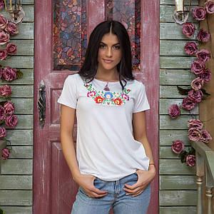 Женская футболка с коротким рукавом с вышивкой цветами в нежно белом цвете «Мальвы» 3XL