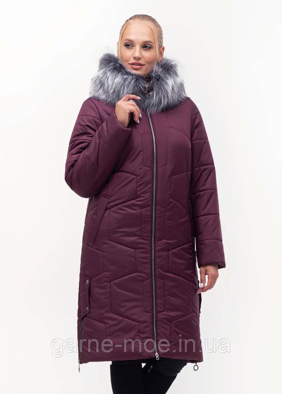 ЛД7149/2 Женский пуховик-пальто батал с искусственным мехом 48-62 рр
