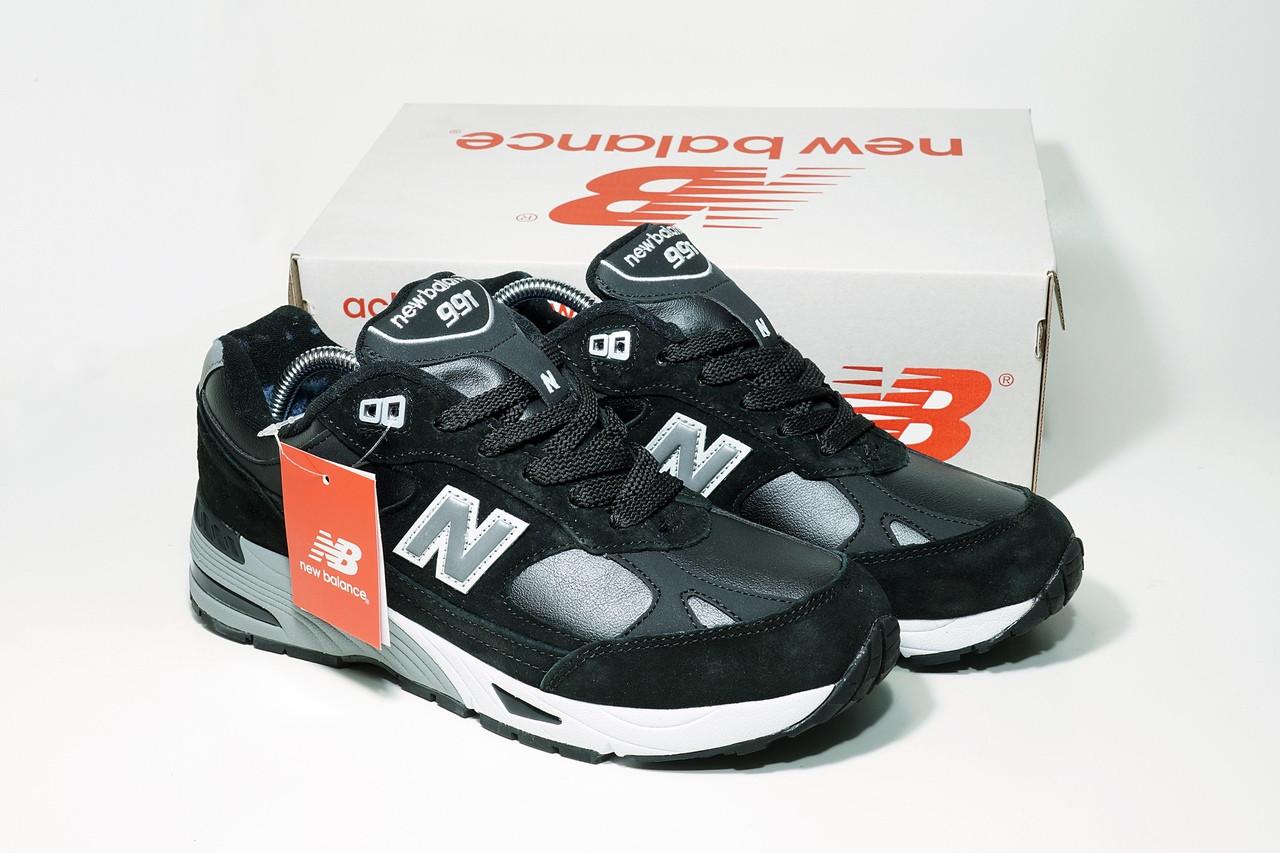"""Зимние кроссовки на меху New Balance 991 """"Черные/Серые"""""""