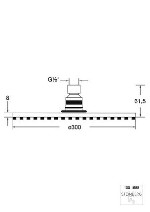 """100 1688 Steinberg Serie 100 Верхній душ 300 x 8мм з системою """"ізі-клін"""", фото 2"""
