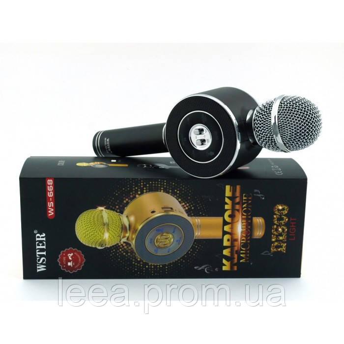 Бездротовий мікрофон караоке блютуз WSTER WS-668 Bluetooth динамік USB Чорний