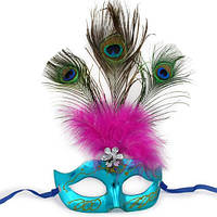 Карнавальная маска Венеция с пером Павлина