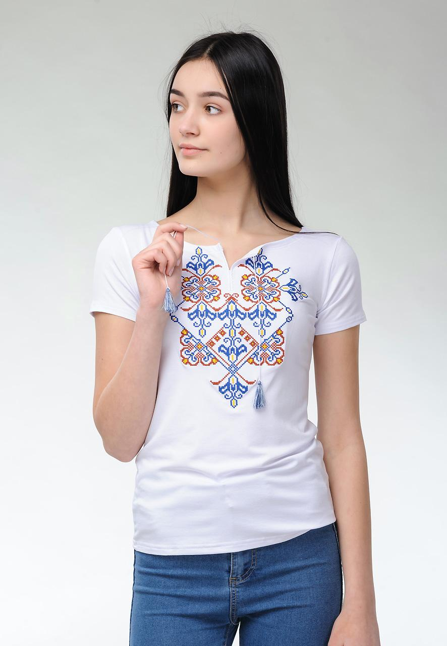 Жіноча футболка на короткий рукав у білому кольорі із оригінальною вишивкою «Елегія»