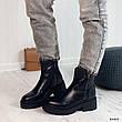 Ботинки женские черные, зимние из эко кожи. Черевики жіночі теплі чорні з еко шкіри, фото 4