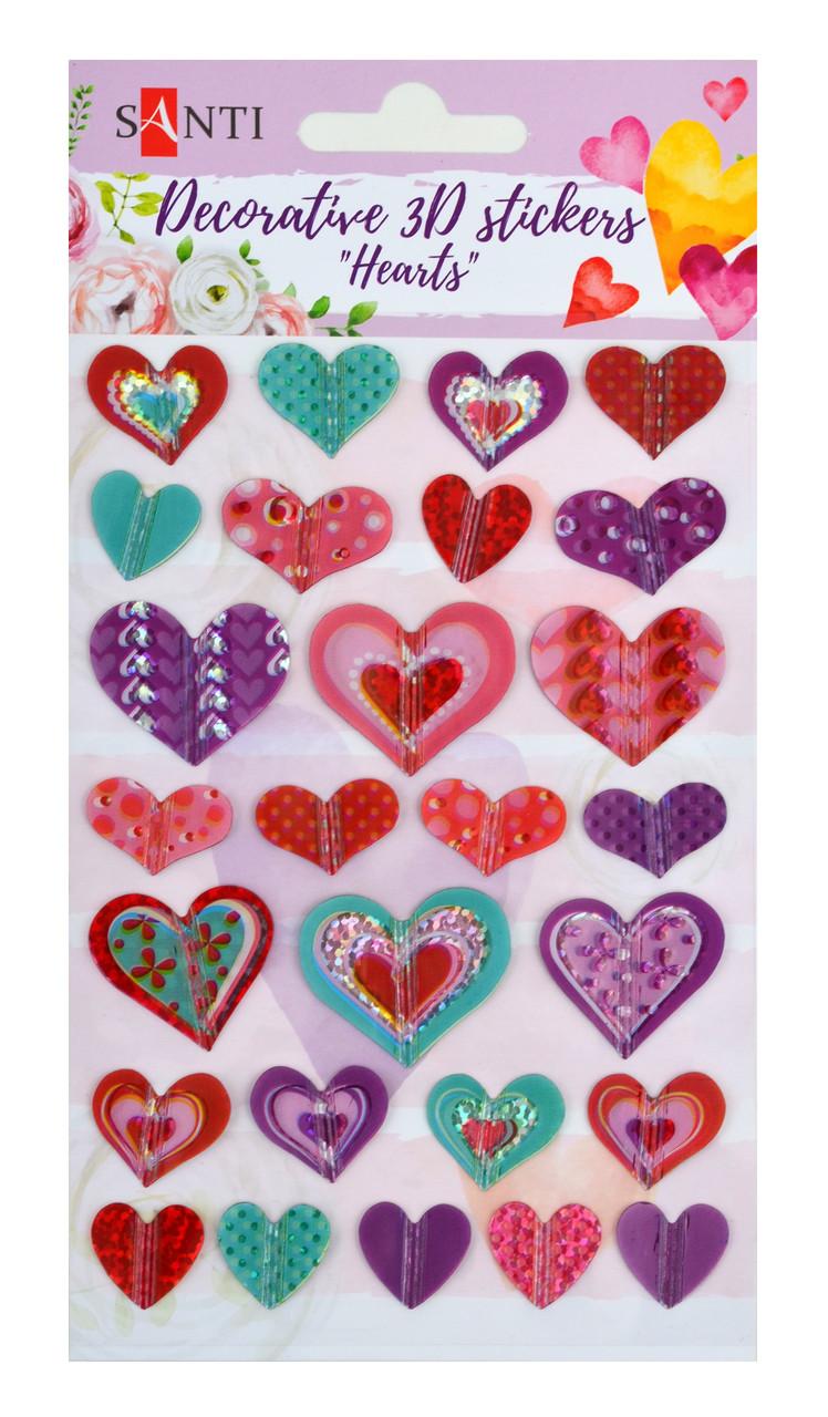 """Набор декоративных 3D стикеров """"Сердца"""". 100*150 мм                                        код: 741292"""