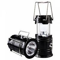 Кемпінговий LED лампа JH-5800T c POWER BANK Ліхтар ліхтарик сонячна панель ЧОРНИЙ