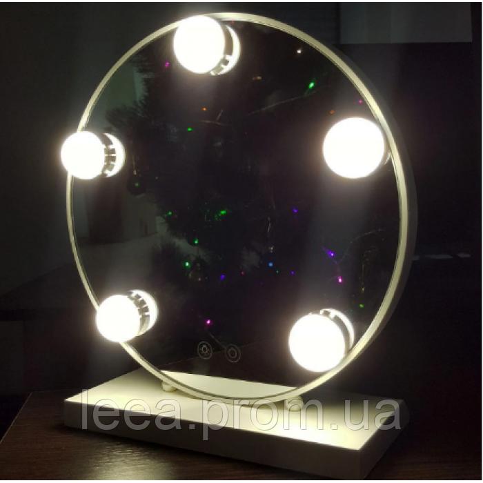 Зеркало для макияжа с LED подсветкой Led Mirror 5 LED JX-526 Белый