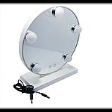 Зеркало для макияжа с LED подсветкой Led Mirror 5 LED JX-526 Белый, фото 3