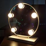 Зеркало для макияжа с LED подсветкой Led Mirror 5 LED JX-526 Белый, фото 6