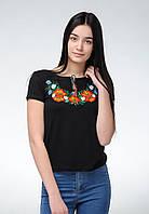 Вышитая женская футболка с коротким рукавом в черном цвете с цветами «Полевая красота»