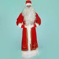 Карнавальный костюм Деда Мороза красный с вышивкой