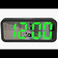 Зеркальные LED часы с будильником и термометром DT-6508 (зеленная подсветка)