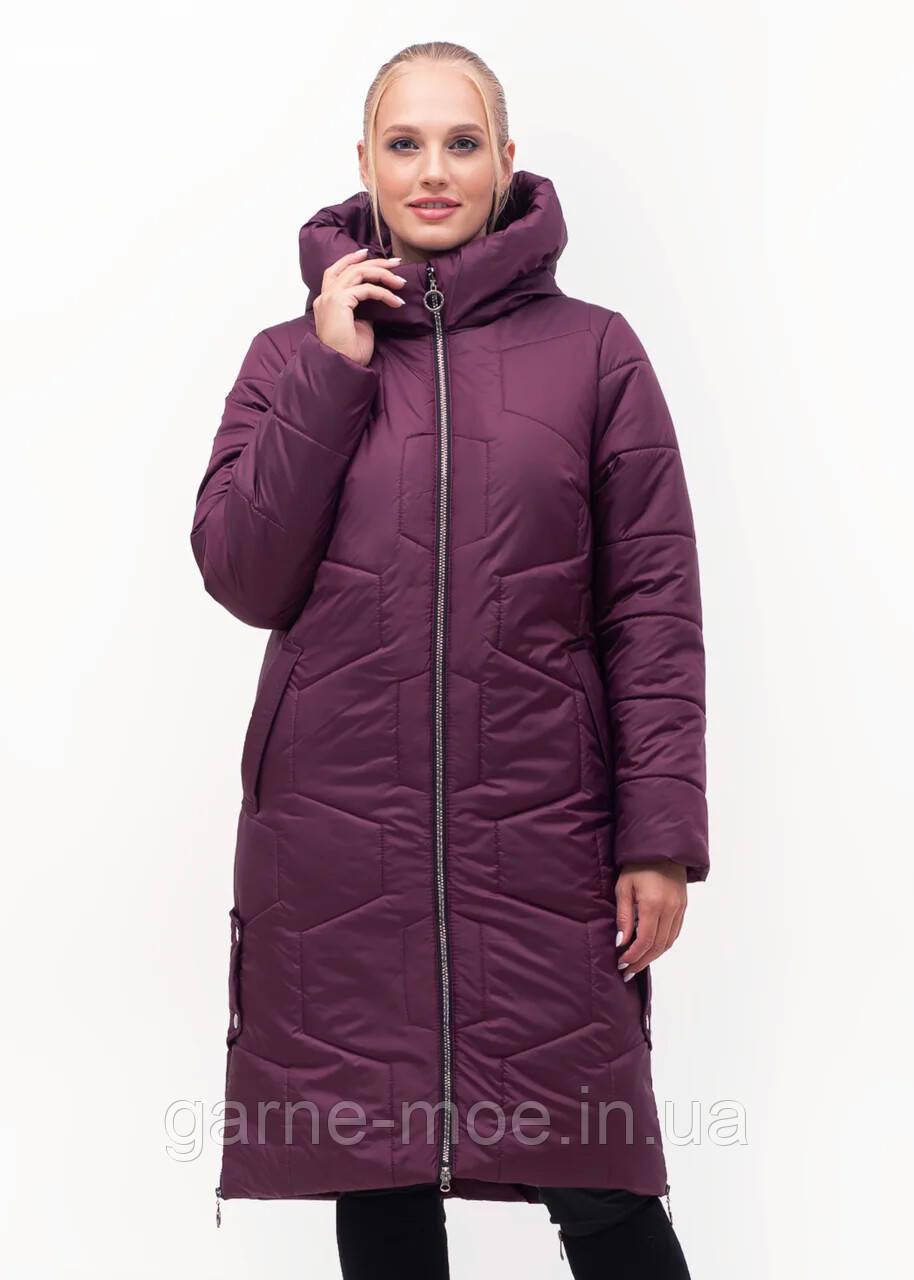 ЛД7149-1 Женский пуховик-пальто батал без меха 48-62 рр