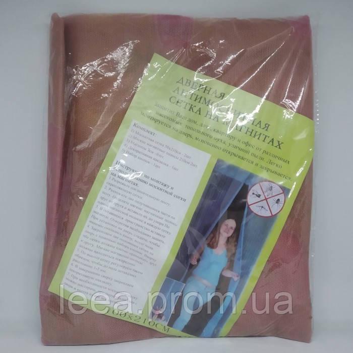 Анти москитная сетка штора на магнитах Magic Mesh 100*210 см Светло - розовая с цветочками