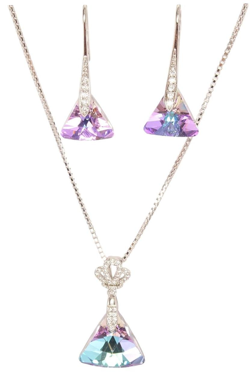 """Набір XP Родій з кристалами Swarovski Сережки Кулон на ланцюжку""""Циліндр з Трикутним Кристалом"""" довжина 40-45см"""