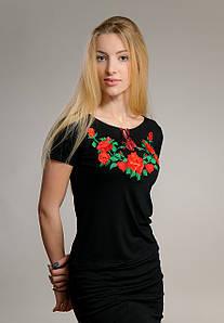 Вышитая женская футболка с коротким рукавом в украинском стиле «Розы на черном» S