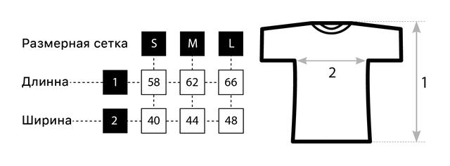 Размерная сетка женской футболки