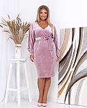 Платье с V-образным вырезом, велюровое, осень-весна, разные цвета, р.50,52,54,56 Код Эм, фото 6
