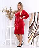 Платье с V-образным вырезом, велюровое, осень-весна, разные цвета, р.50,52,54,56 Код Эм, фото 2
