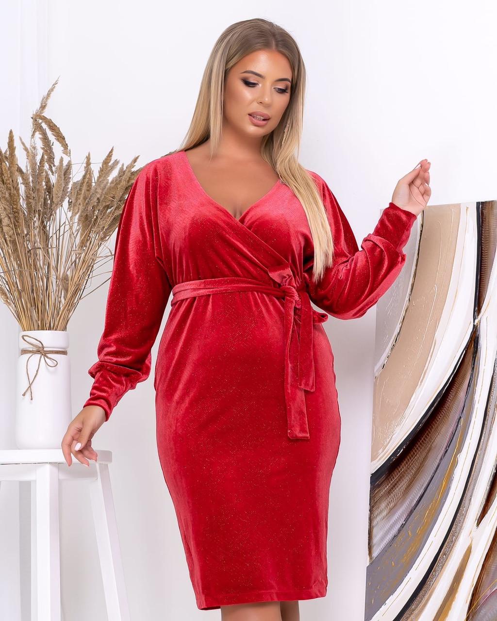 Платье с V-образным вырезом, велюровое, осень-весна, разные цвета, р.50,52,54,56 Код Эм