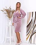 Платье с V-образным вырезом, велюровое, осень-весна, разные цвета, р.50,52,54,56 Код Эм, фото 7