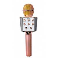 Бездротовий мікрофон караоке блютуз WS-1688 Bluetooth динамік USB Рожево-Золотий