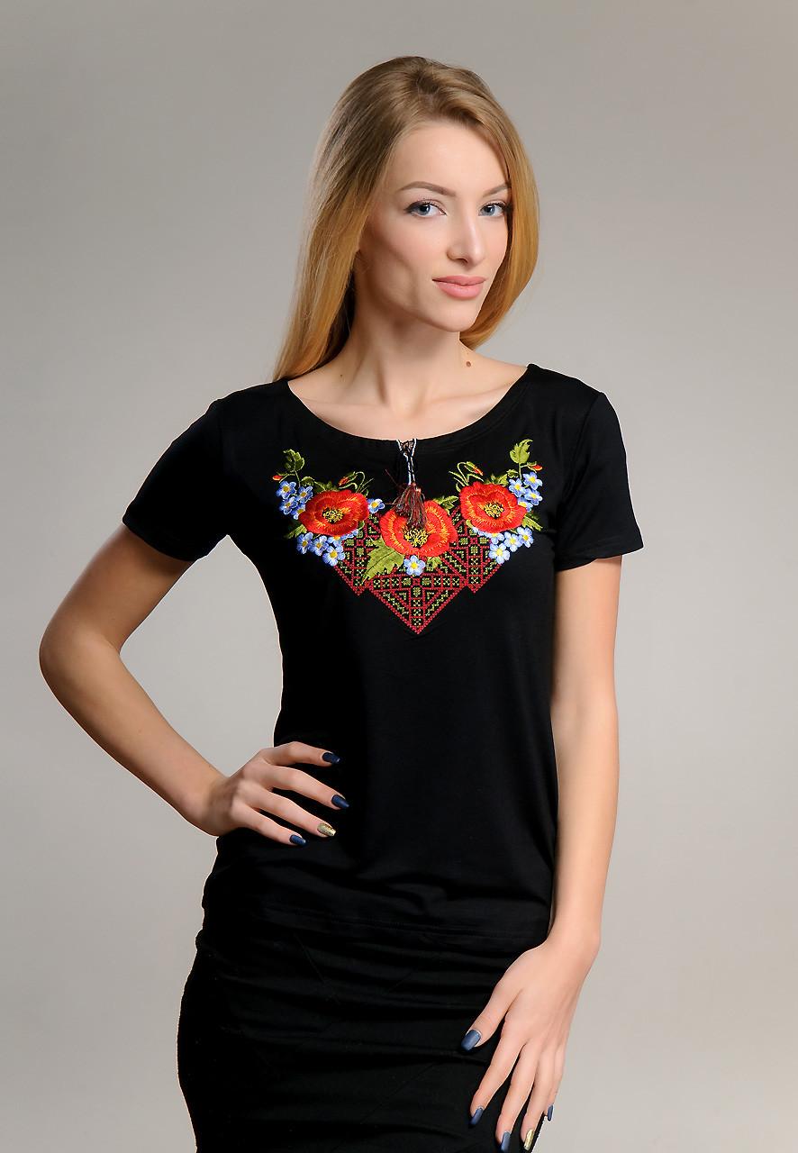 Черная женская вышиванка с коротким рукавом в национальном стиле «Чудо маки»
