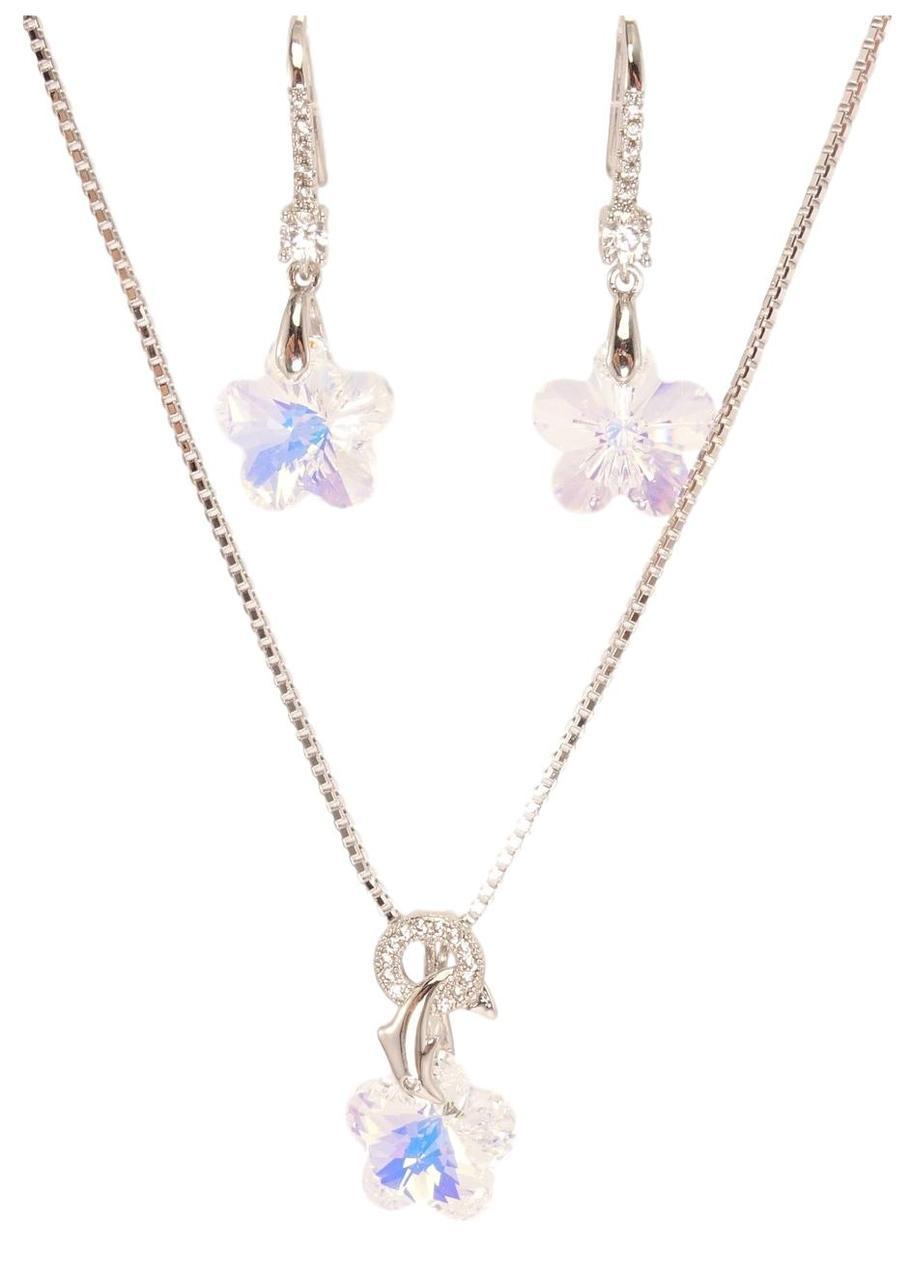 """Набор XP Родий с кристаллами Swarovski Серьги Кулон на цепочке """"Кристальный Цветок с Дельфином"""" длина 40-45см"""
