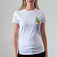 Женская белая футболка, карман с кактусами