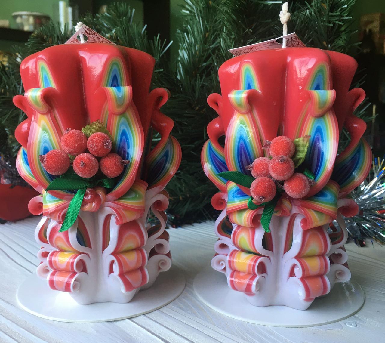 Новогодний набор свечей  с калиной