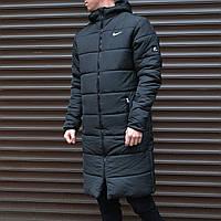 Куртка мужская зимняя Nike до -30*С удлиненная | Парка теплая Найк пальто пуховик ЛЮКС качества